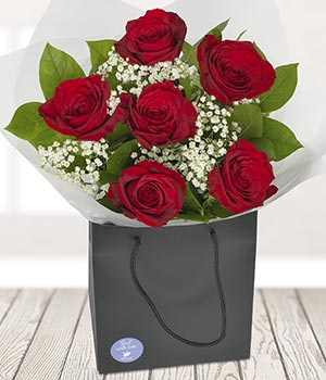 Six Red Roses Hand Delivered Flowers By Eflorist