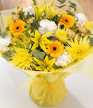 golden gerbera chrysanthemums lilies and carnation