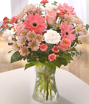 send a warm bouquet of pink gerbera pink roses cre