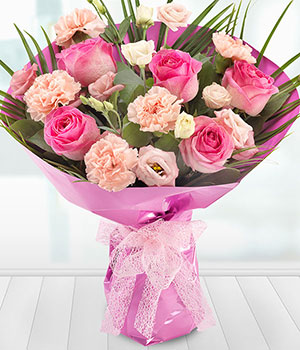 pink roses carnations and lisianthus flowers deliv