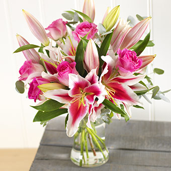 Pink Lilies & Roses