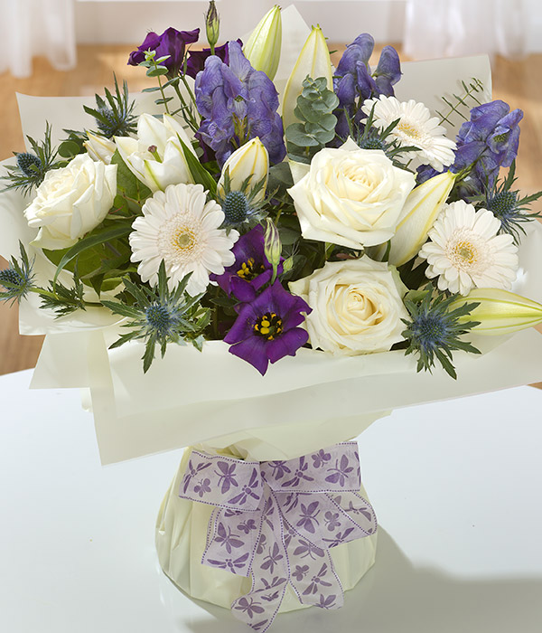 vintage white roses gerbera purple flowers deliver