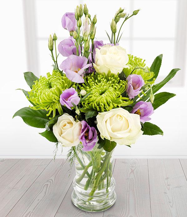 Candle Light Lisianthus Vase Arrangement Send Flowers Online