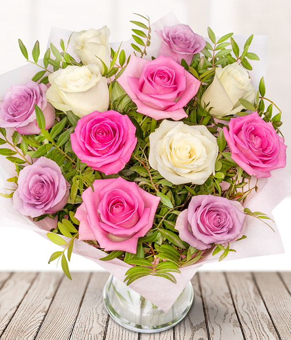 Pink & Cream Roses - Cream, Mauve and Pink Rose Bouquet - Flowers By ...