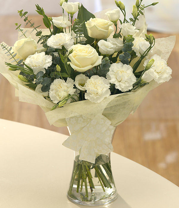 pure white flower vase arrangement delivered by fl
