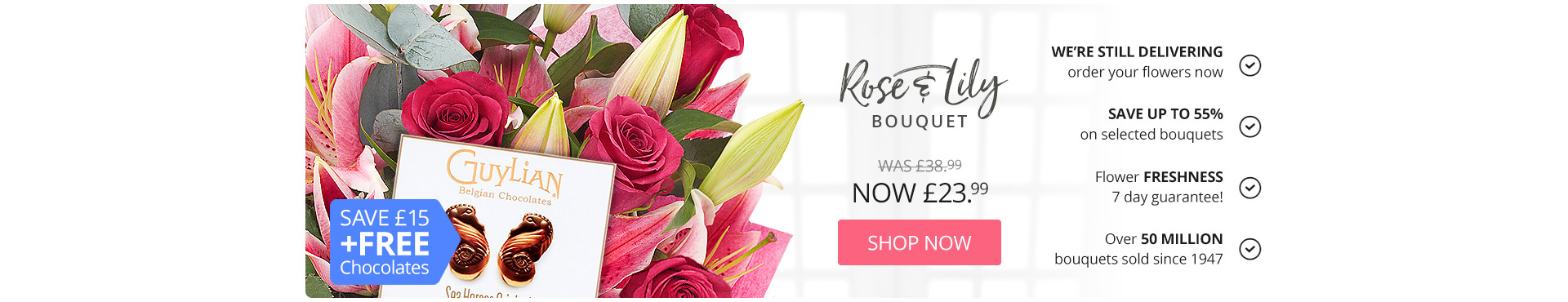 Rose and Lily bouquet Save £15 and Free Chocolates