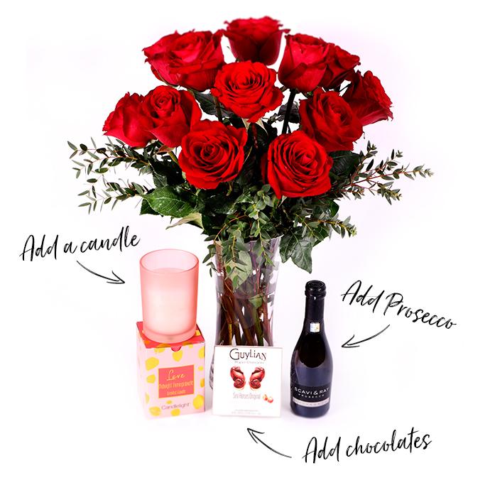 valentine's bouquet with add on bundle