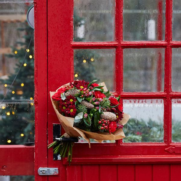 Christmas bouquet on door